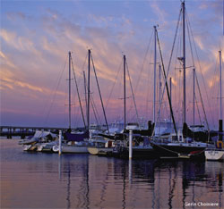 Sailboats at their slips in New Bern, NC