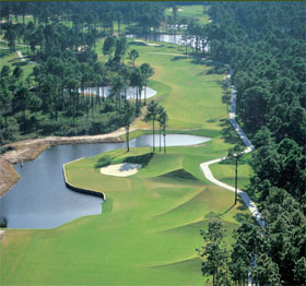a golf green in Hilton Head Island, SC aerial photo